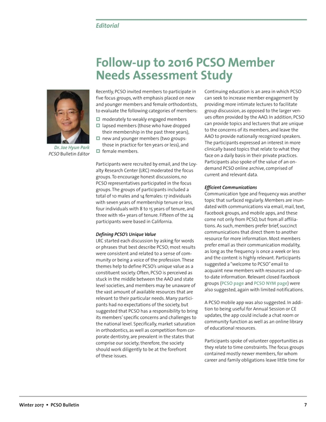 Pacific Coast Society of Orthodontists Bulletin Winter 2017