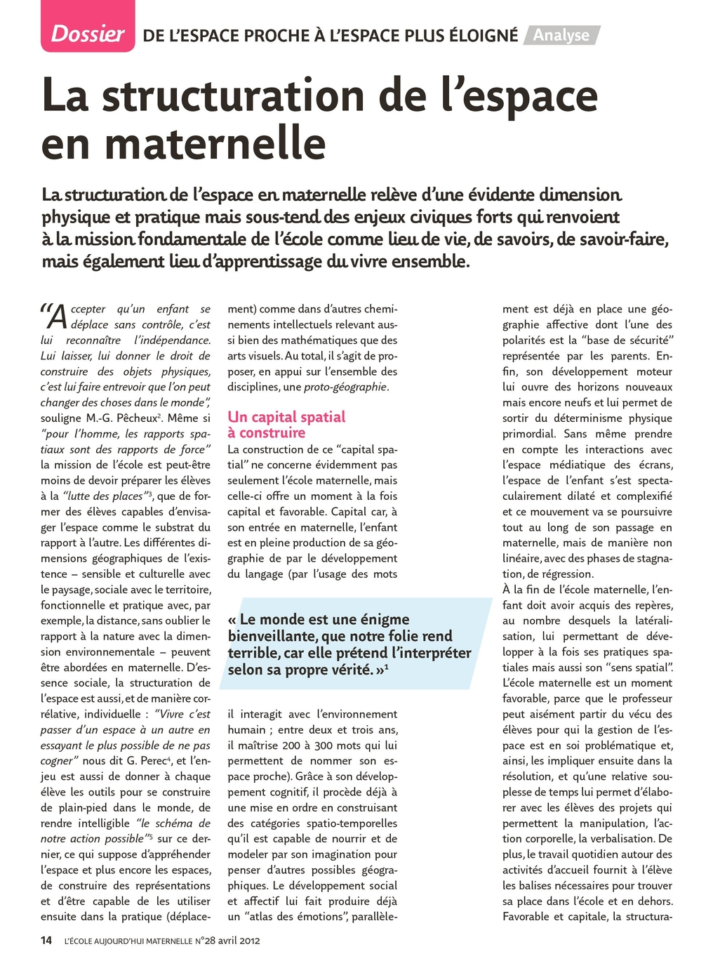 Lécole Aujourdhui Maternelle N28 Avril 2012