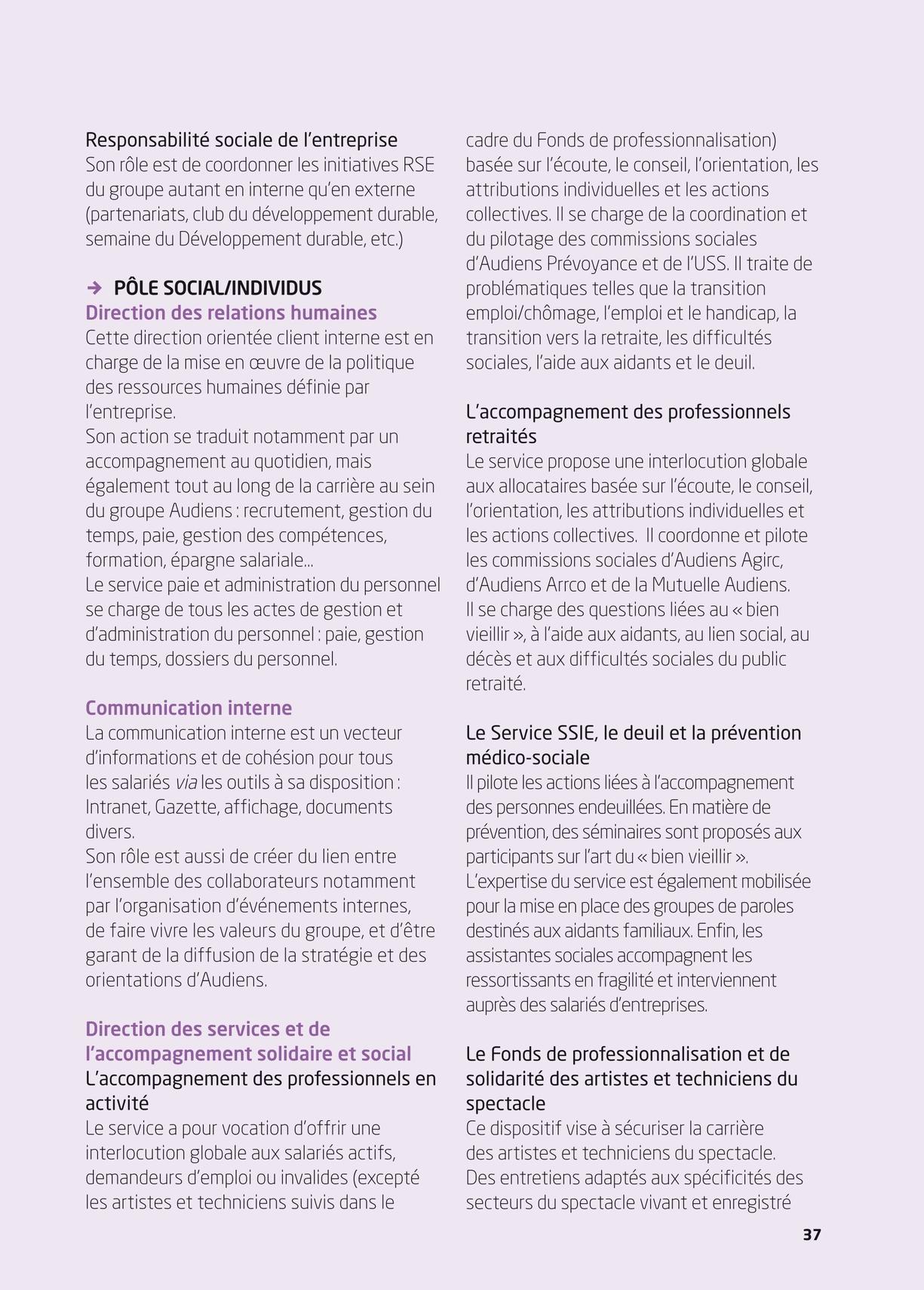 Audiens Livret D Accueil Edition 2015
