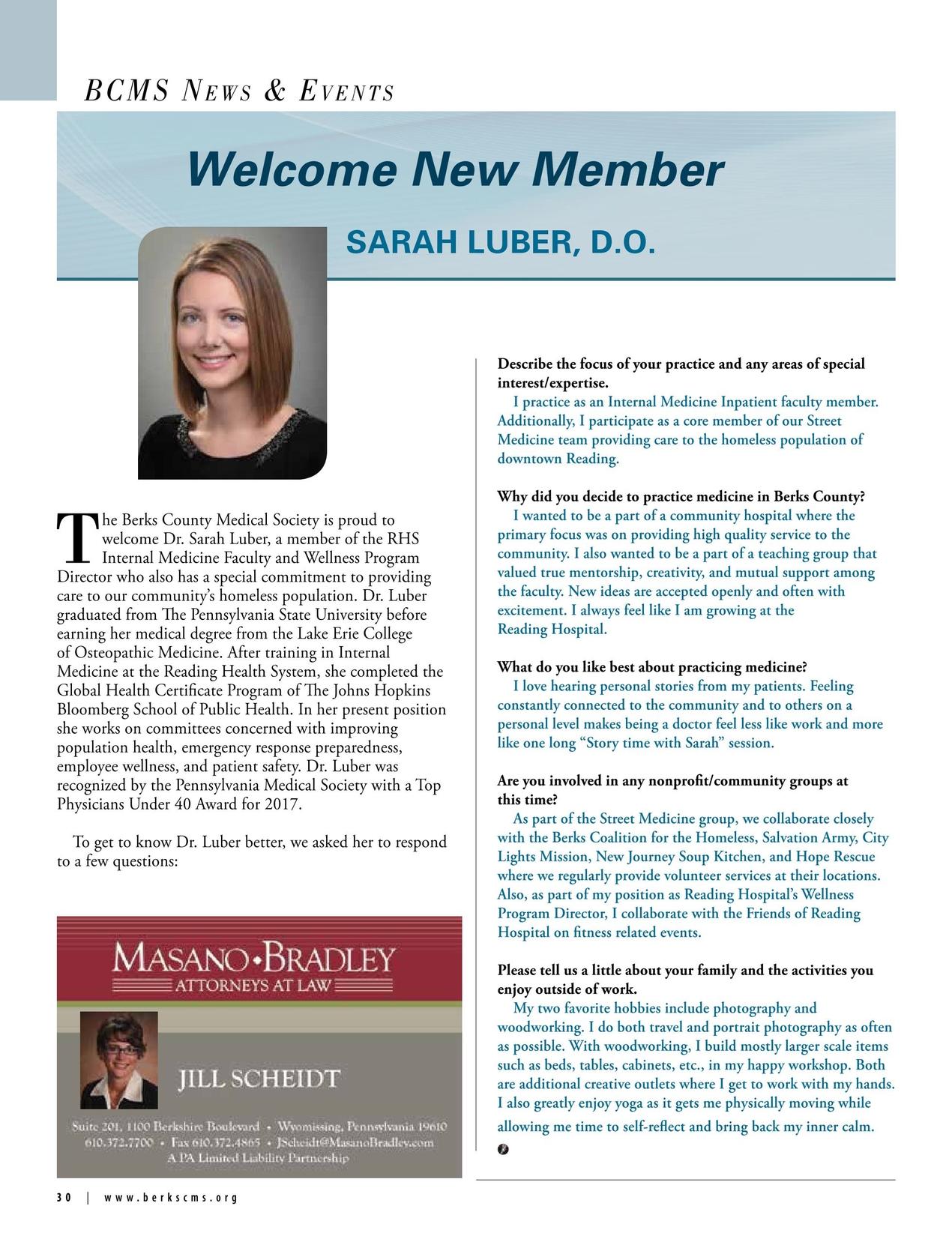 Berks County Medical Society Medical Record Fall 2017 [30 - 31]