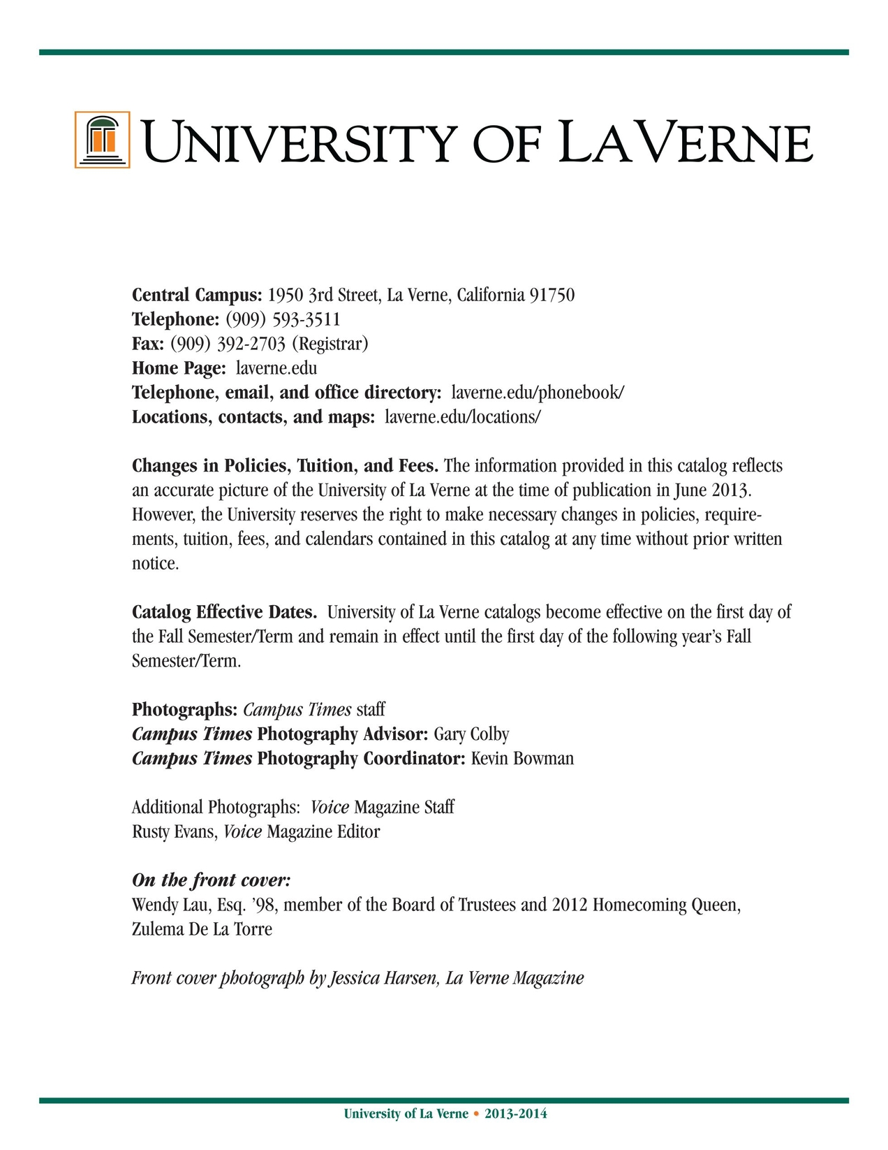 University Of La Verne 2013 2014 Catalog