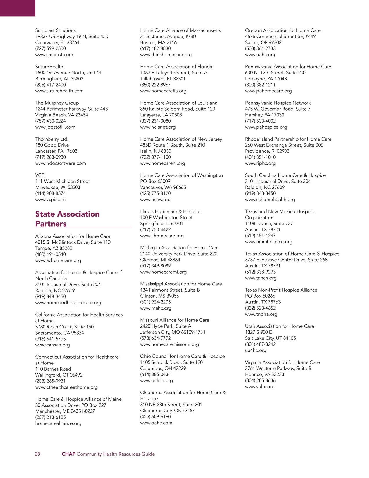 Chap Community Health Resource Directory