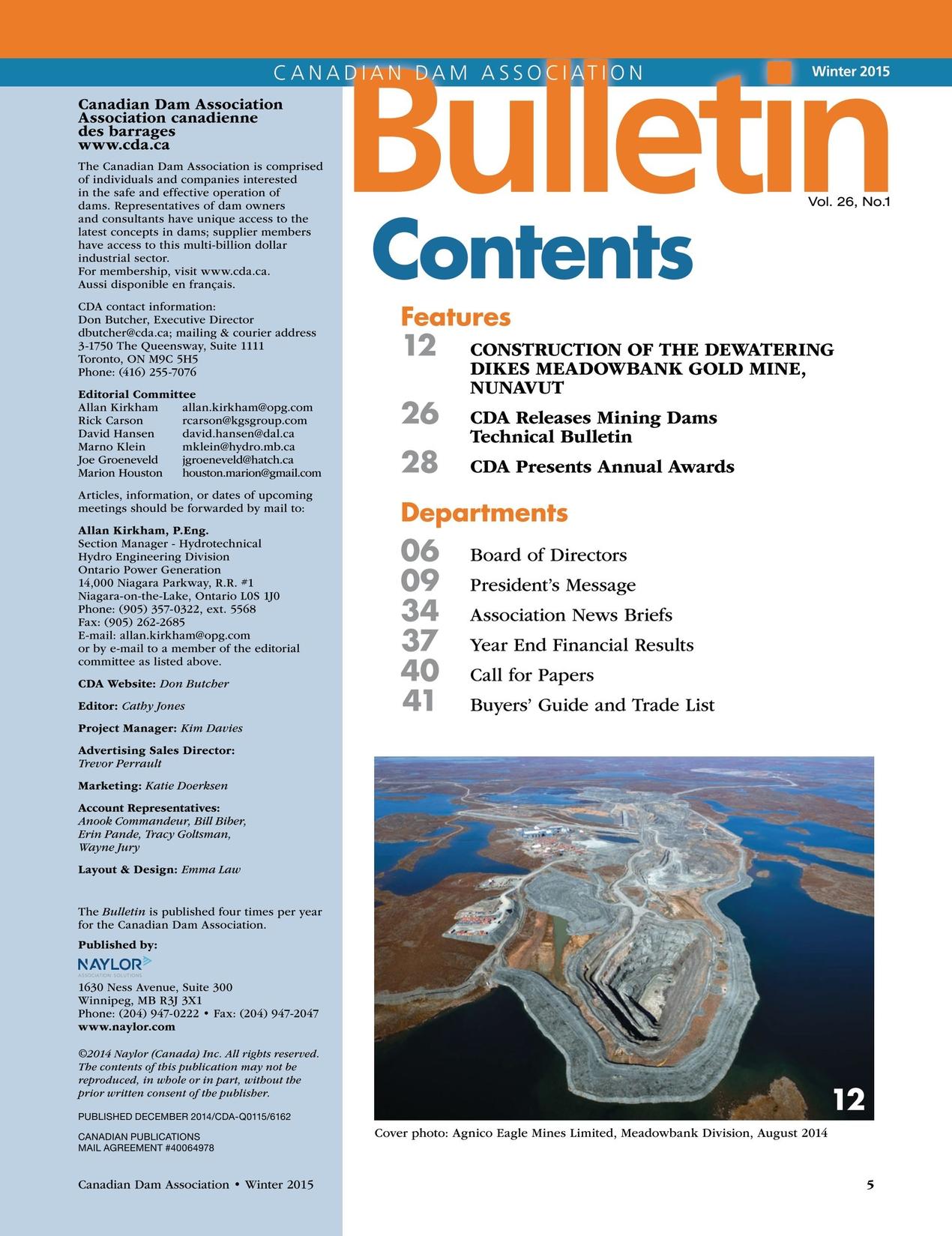 Canadian Dam Association Bulletin - Winter 2015