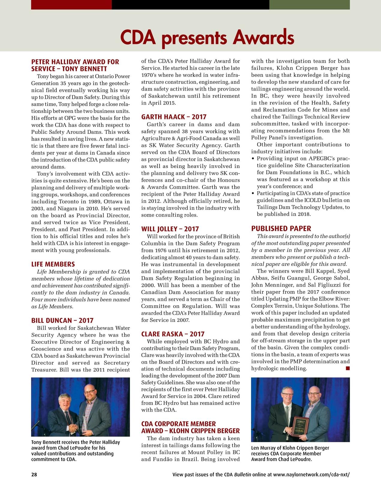Canadian Dam Association Bulletin - Winter 2018