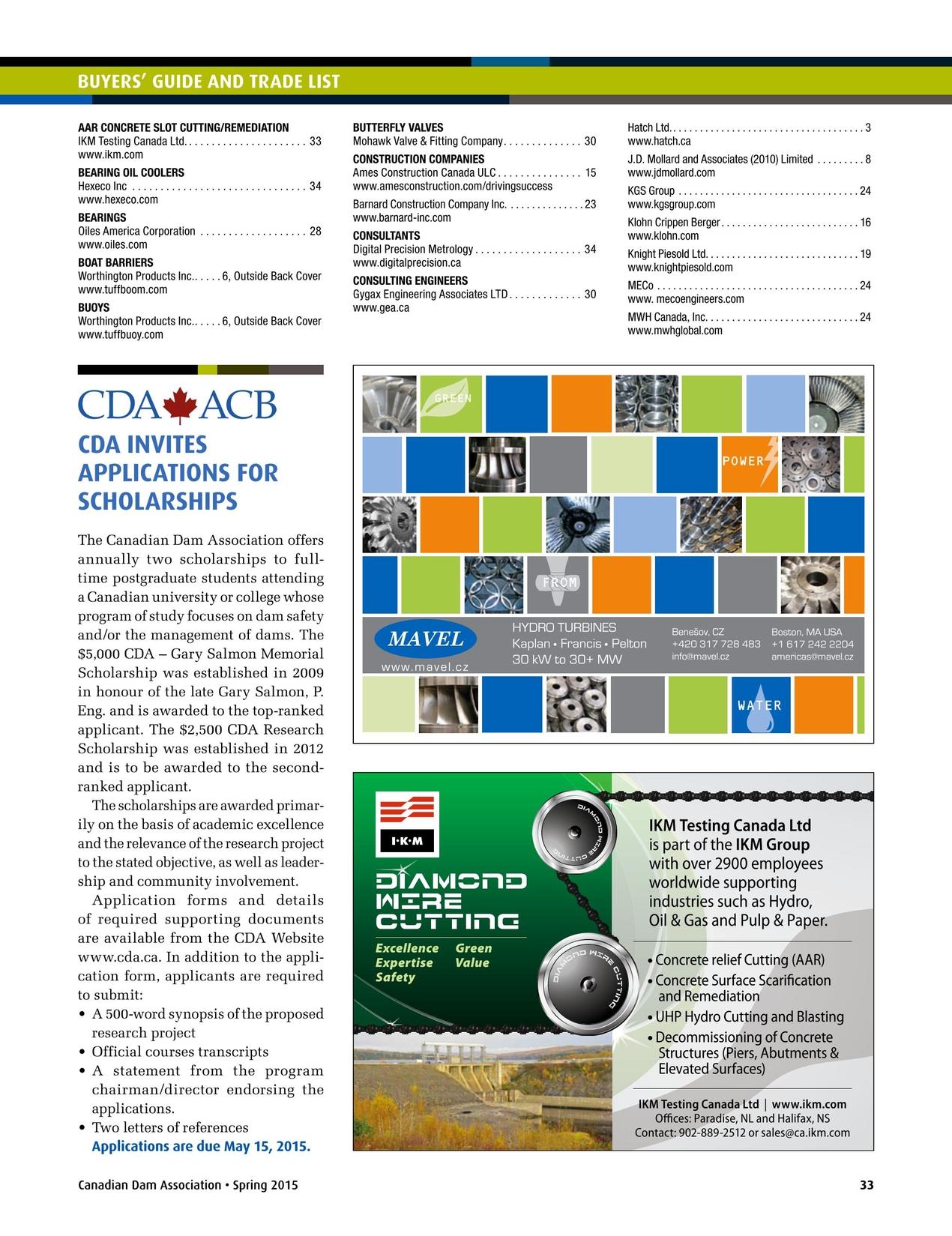 Canadian Dam Association Bulletin - Spring 2015