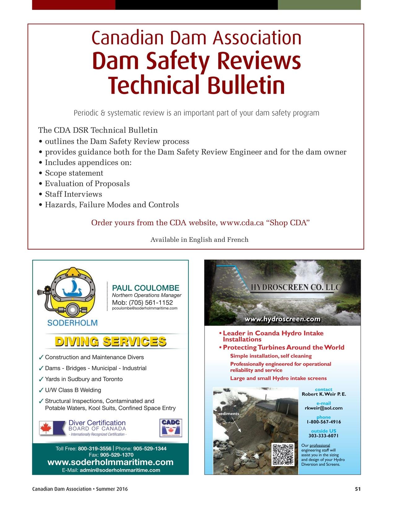 Canadian Dam Association Bulletin Summer 2016