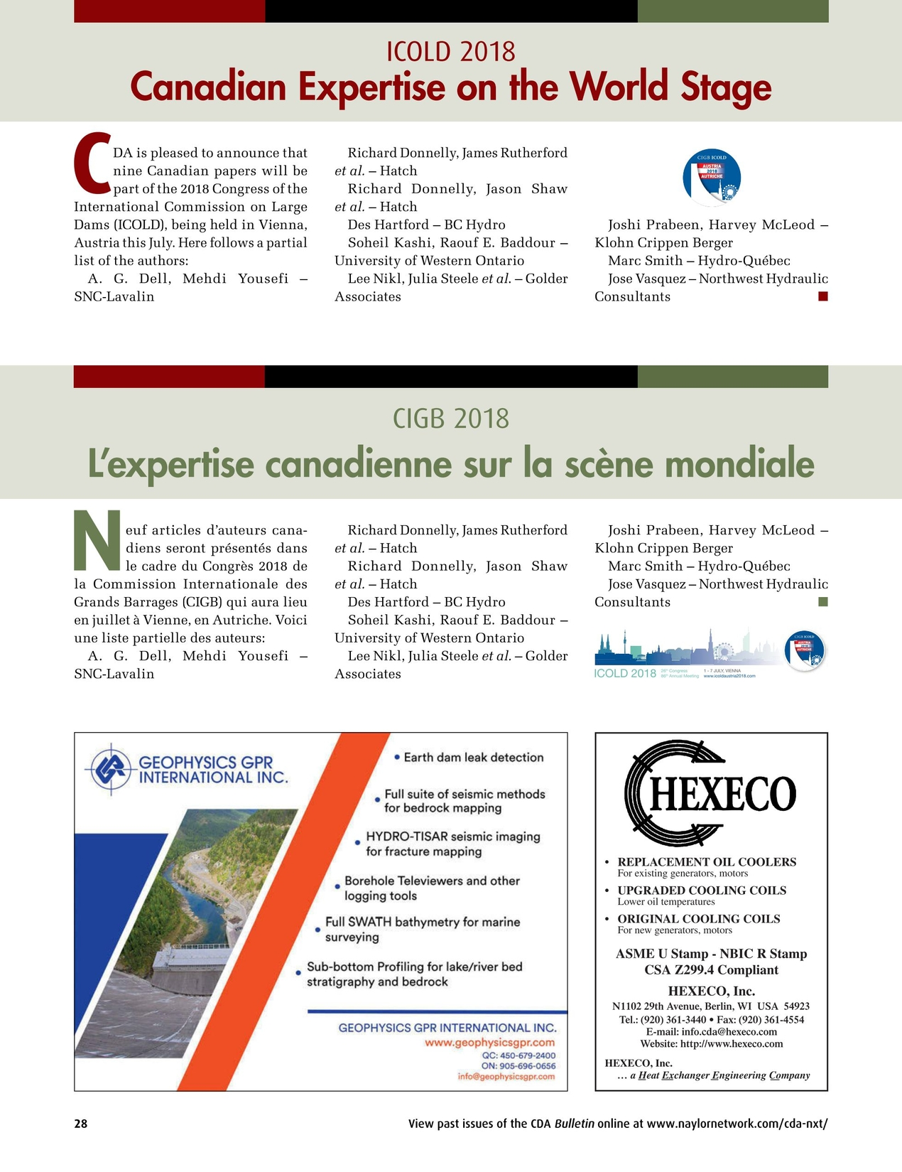Canadian Dam Association Bulletin - Summer 2018