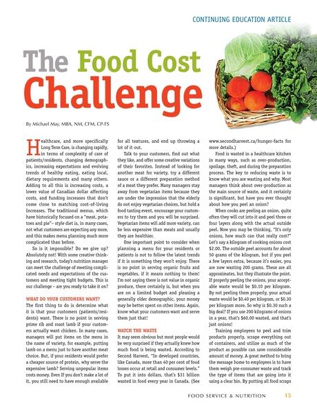 Food Service Nutrition Volume 1 No1