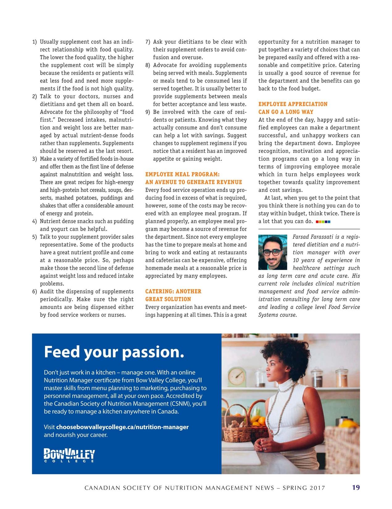 Food Service Nutrition Spring 2017
