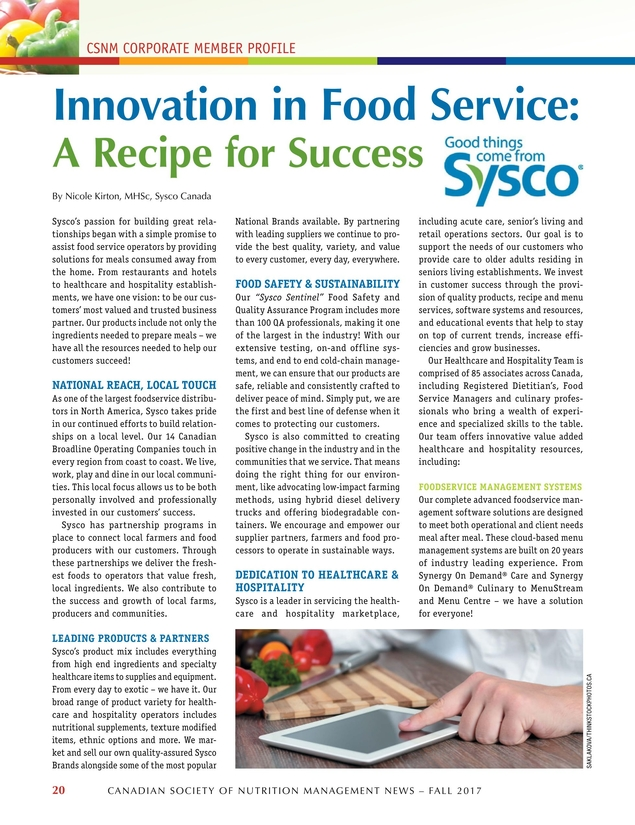Food Service & Nutrition - Fall 2017 - 20