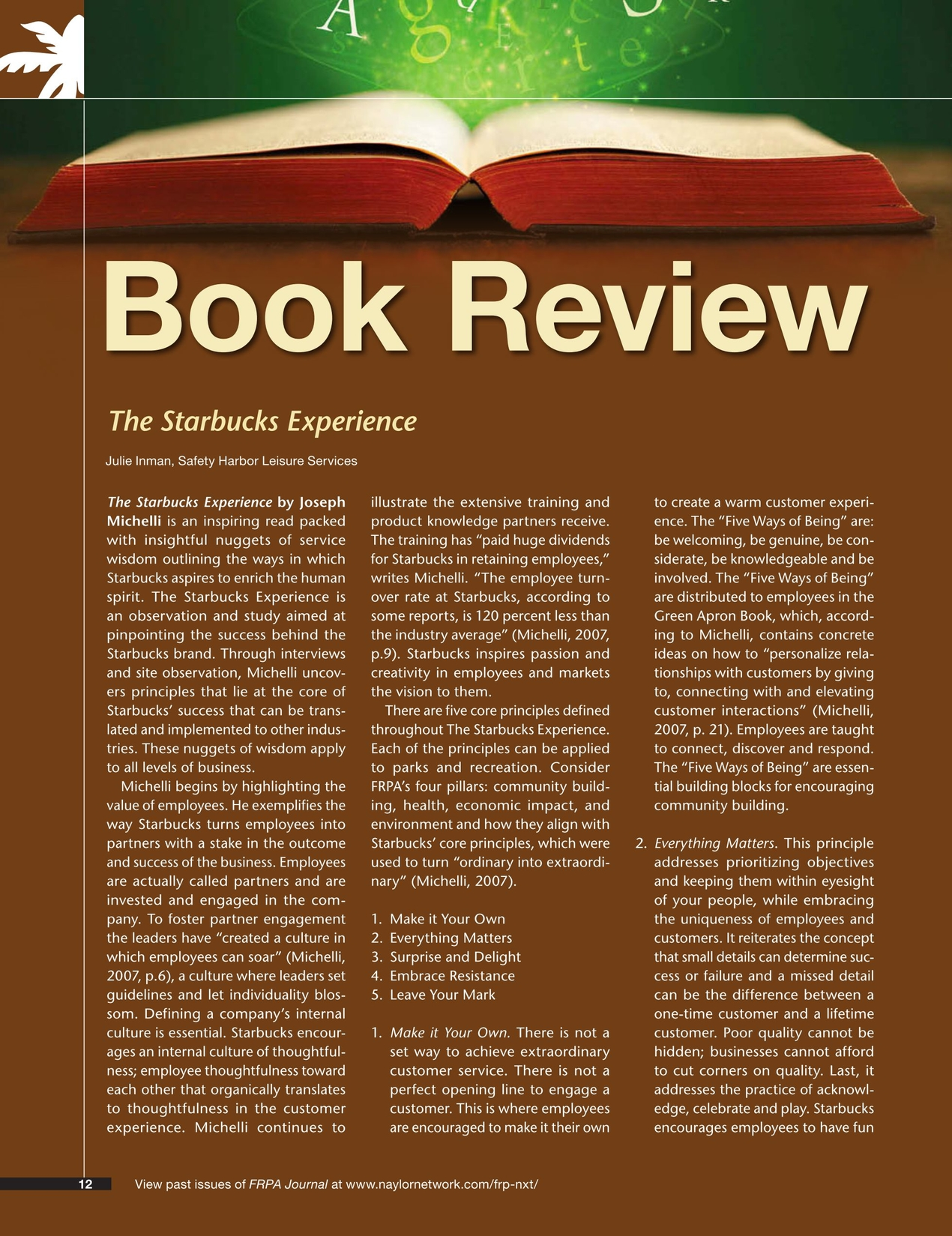Book review for starbucks experience