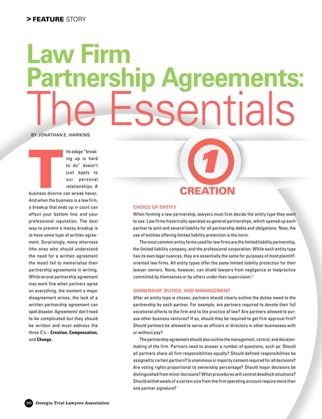 Verdict - Winter 2015 - Law Firm Partnership Agreements: The Essentials