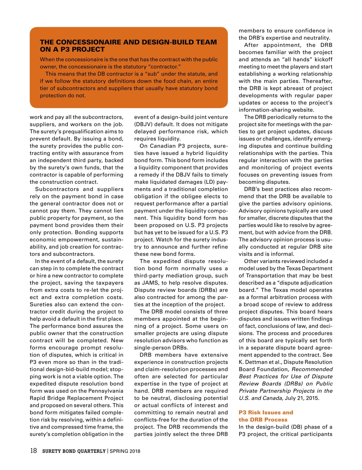 surety bond quarterly - spring 2018