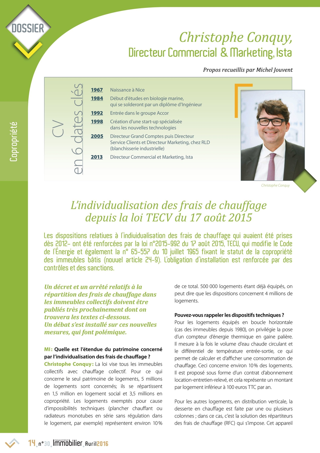 Management immobilier n30 avril 2016 14 15 management immobilier n30 avril 2016 page 14 dossier christophe conquy directeur commercial marketing ista cv en 6 dates cls coproprit propos thecheapjerseys Image collections