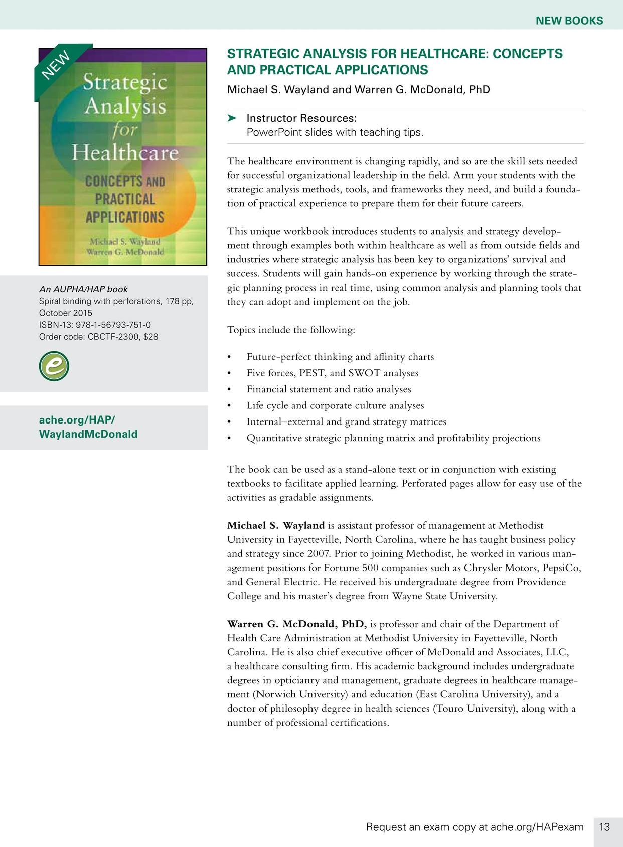 Health Administration Press Course Catalog - Fall 2016