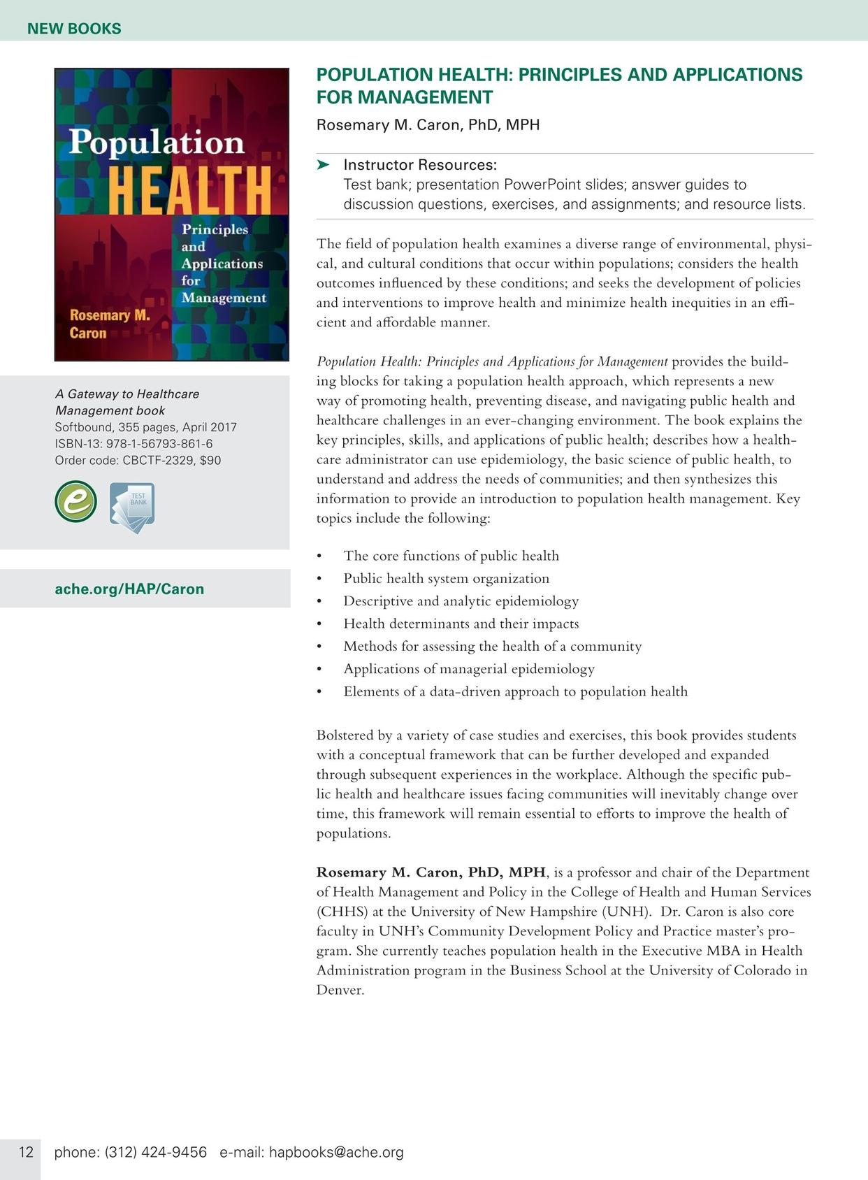 Health Administration Press Management Catalog - Fall 2017