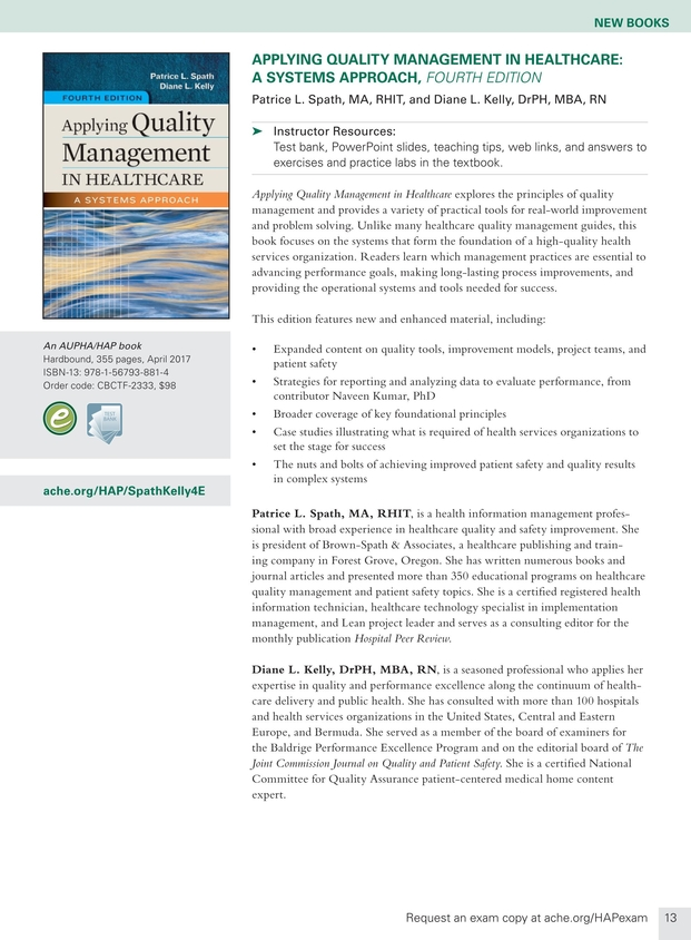 Health Administration Press Management Catalog - Fall 2017