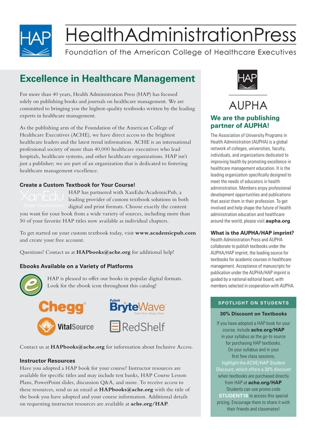 Health administration press management catalog spring 2018 2 3 fandeluxe Choice Image