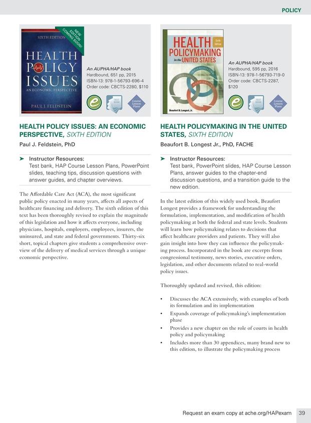 Health Administration Press Management Catalog - Spring 2018