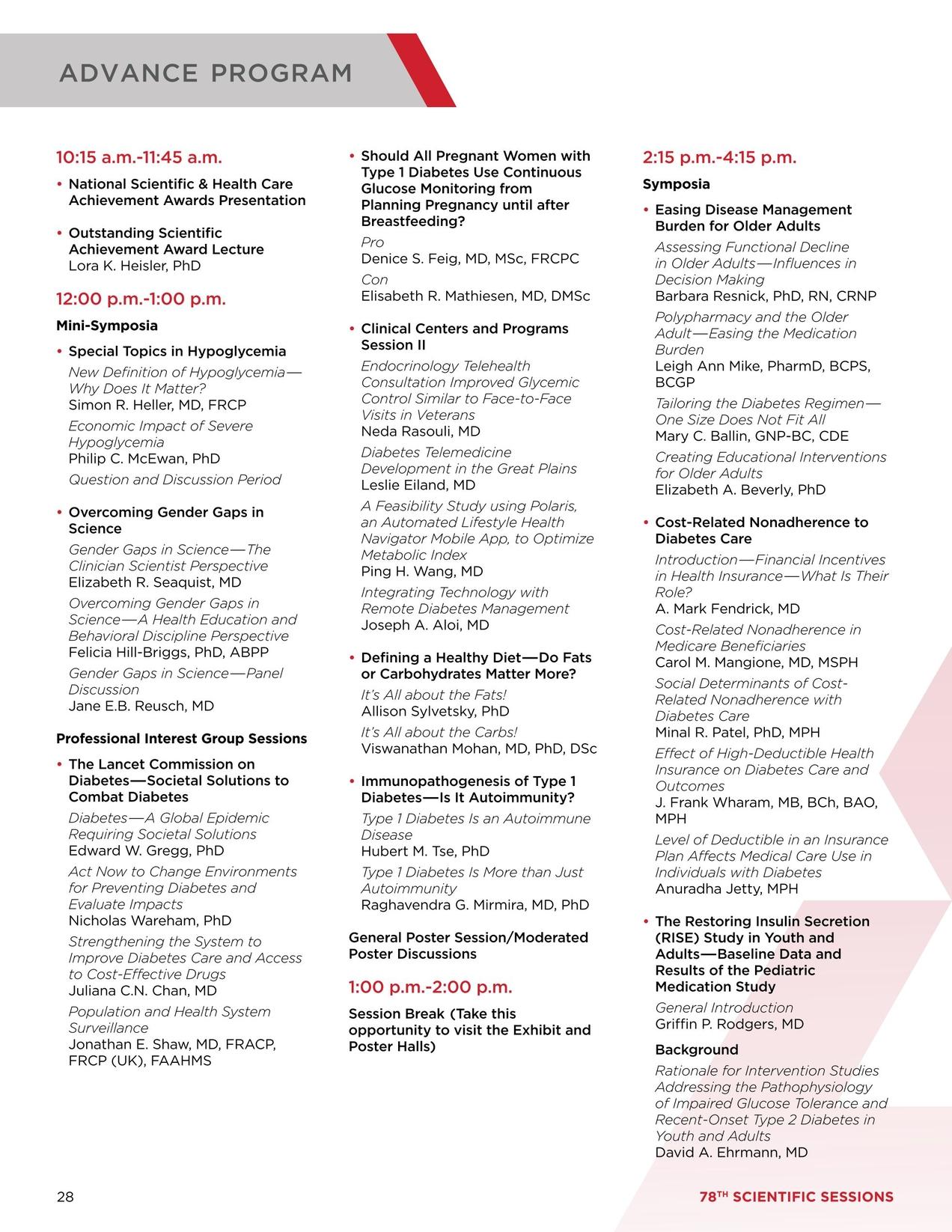 78th Scientific Sessions Advance Program