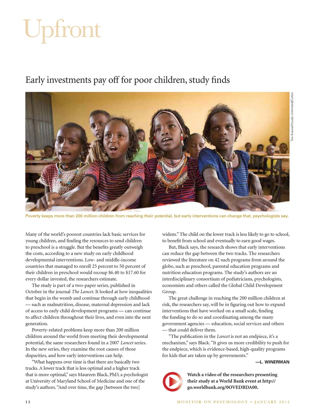 Study Early Intervention Pays Off >> Monitor On Psychology January 2012