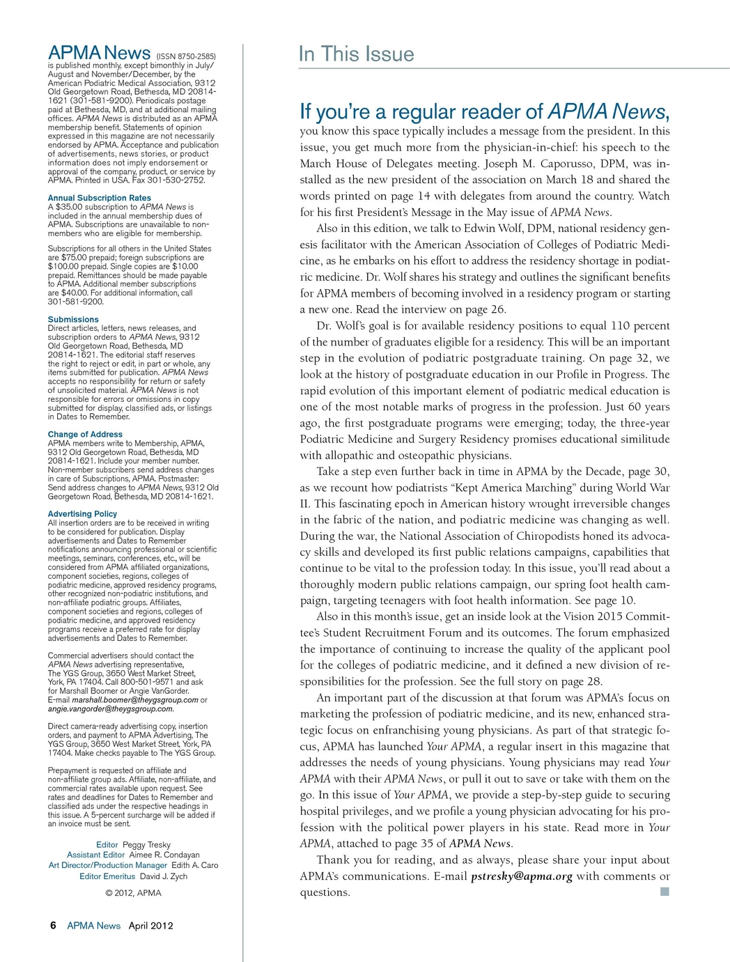 APMA News - April 2012