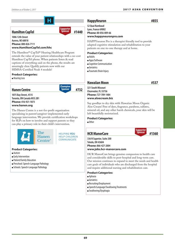 ASHA 2017 Convention Program Exhibit Guide