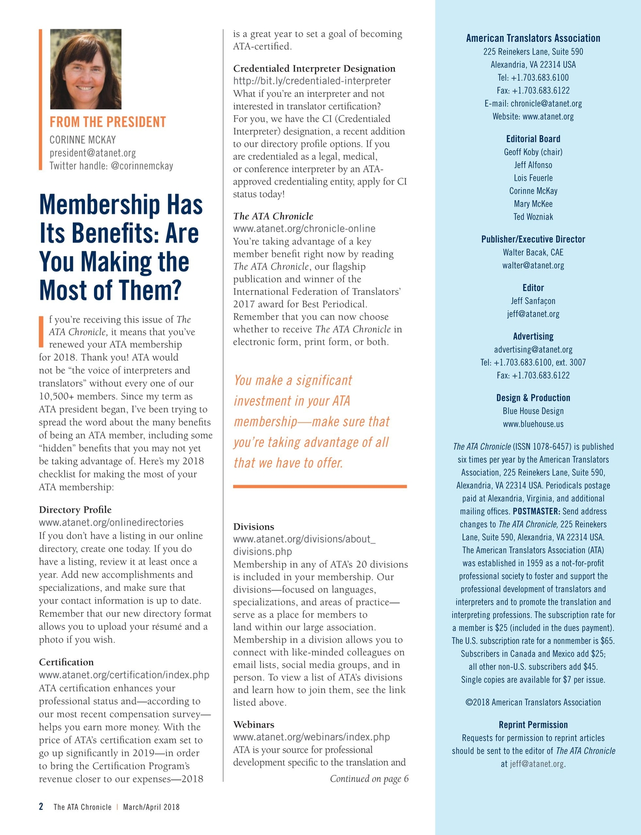 The Ata Chronicle Marchapril 2018