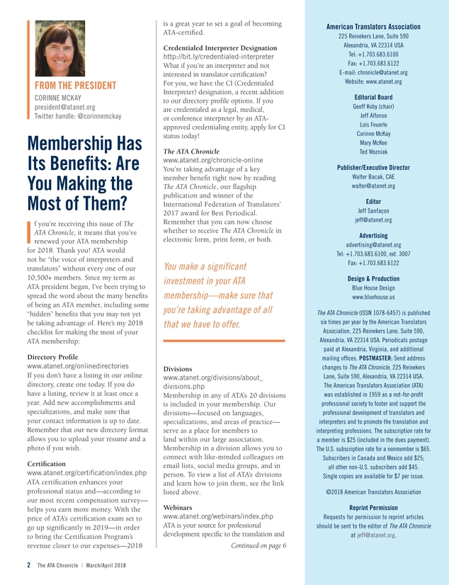 The ATA Chronicle - March/April 2018