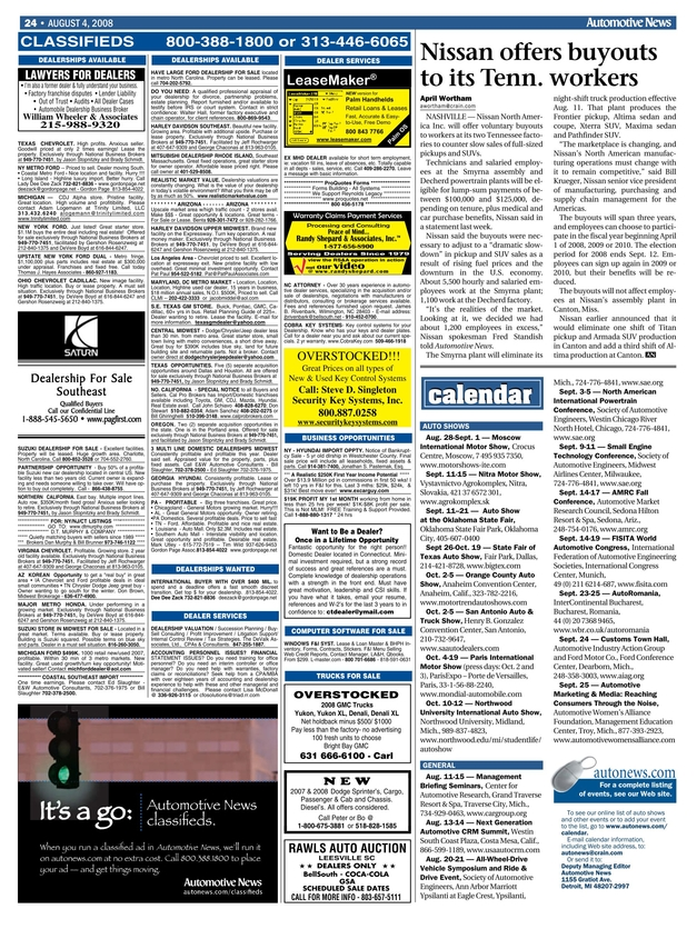 Automotive News - August 4, 2008