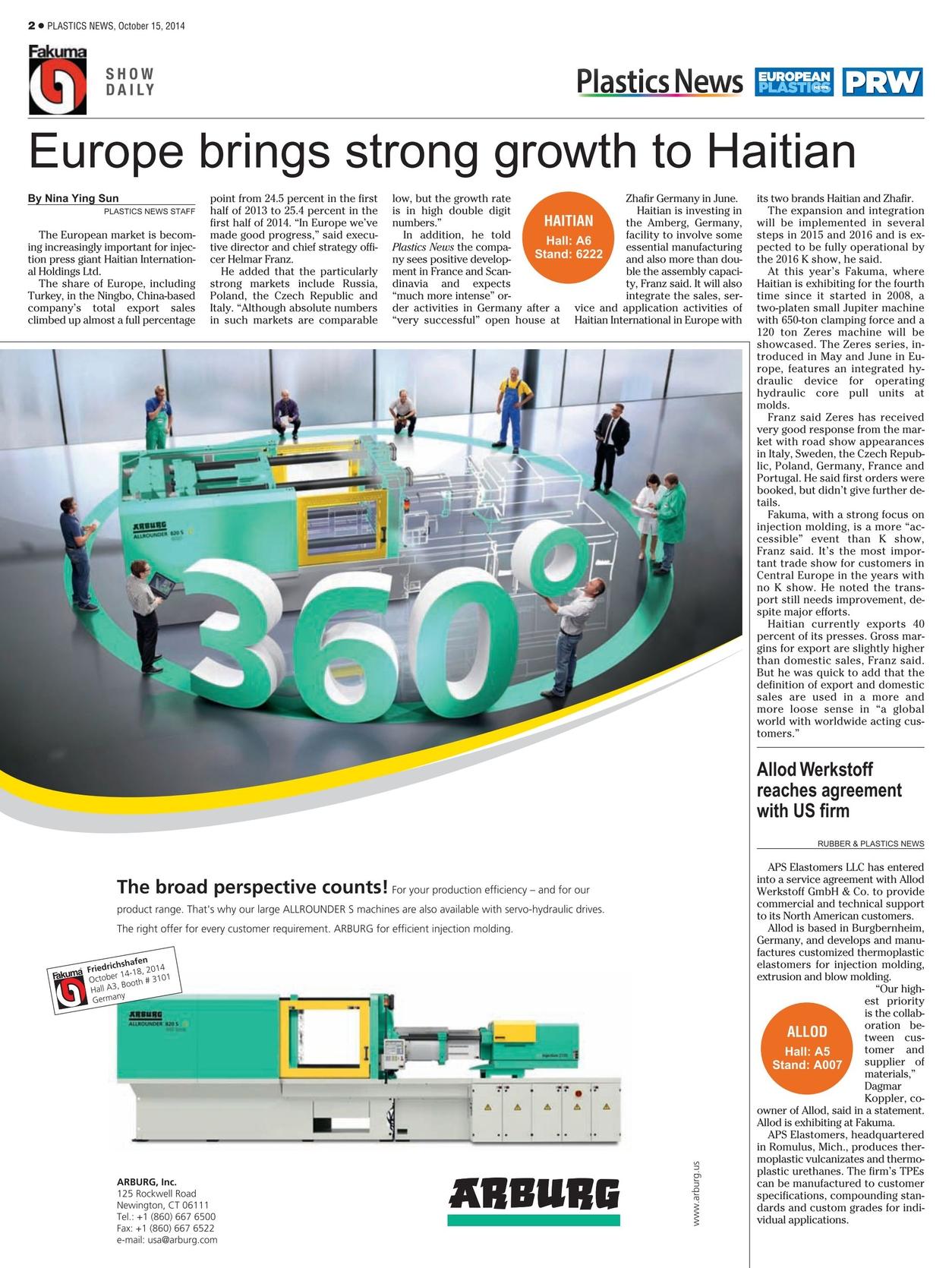 Plastics News Fakuma Show Daily - October 15, 2014
