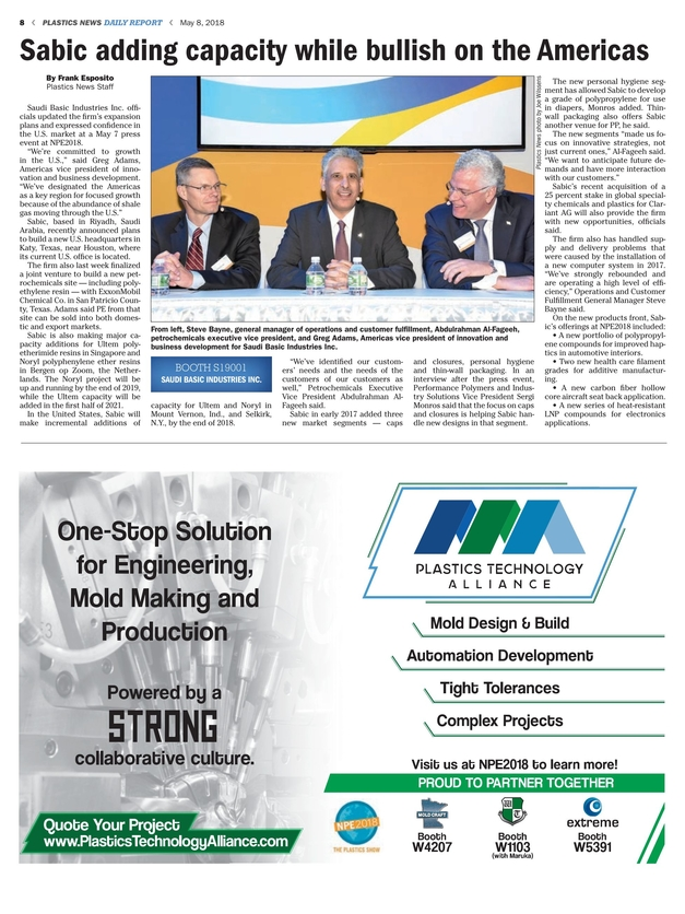 Plastics News Daily Report - May 8, 2018