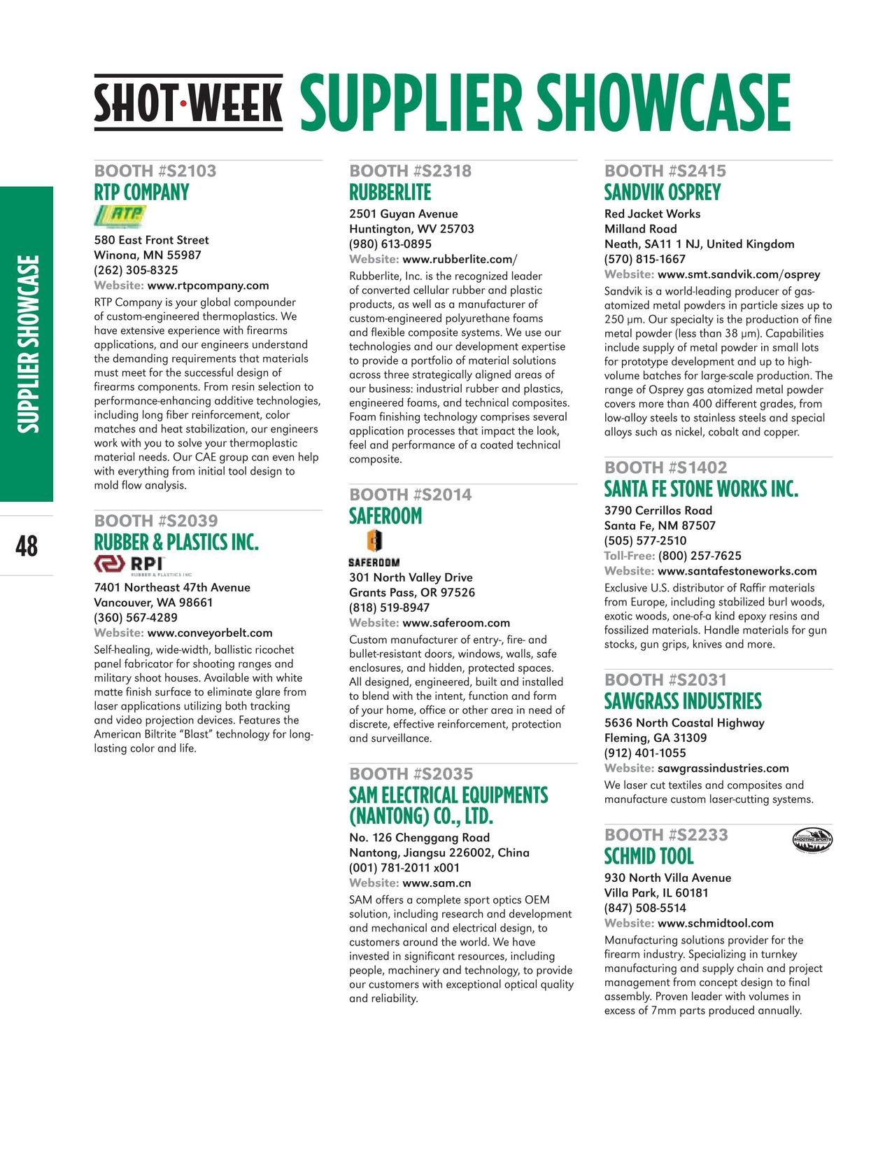 SHOT Week Supplier Showcase - 2018 Directory