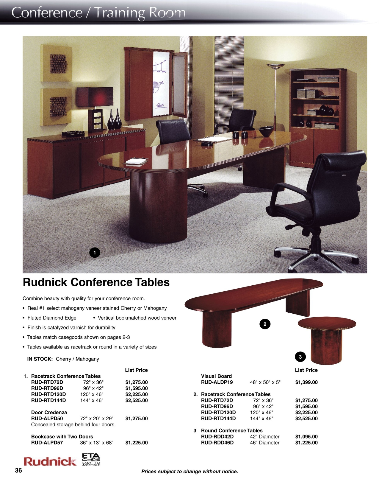 Catalog - 36 x 96 conference table