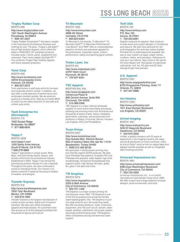 ISS Long Beach 2018 Show Directory