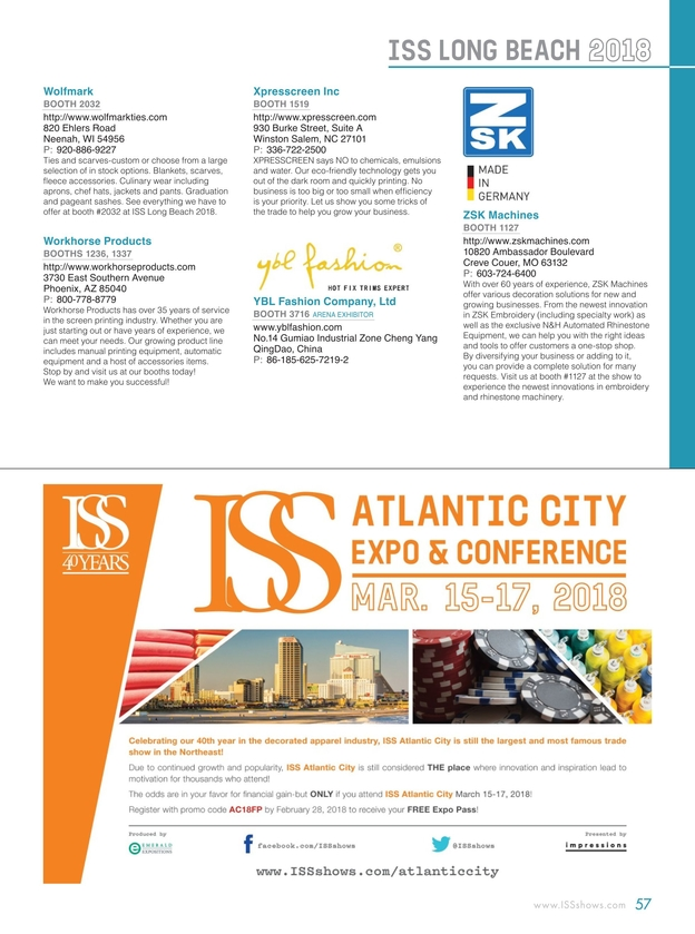 ISS Long Beach 2018 Show Directory
