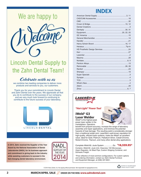 zahn dental sales flyer march april 2014