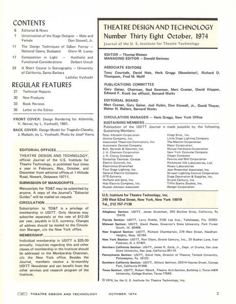 Theatre Design & Technology - Oct 1974