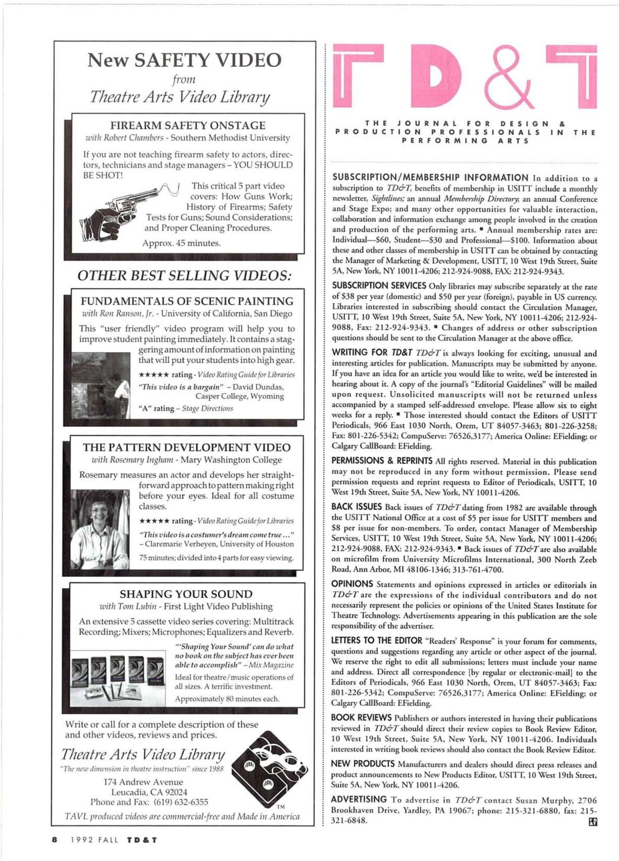 Theatre Design & Technology - Fall 1992