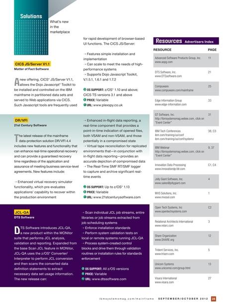 IBM Systems Magazine, Mainframe - September/October 2012