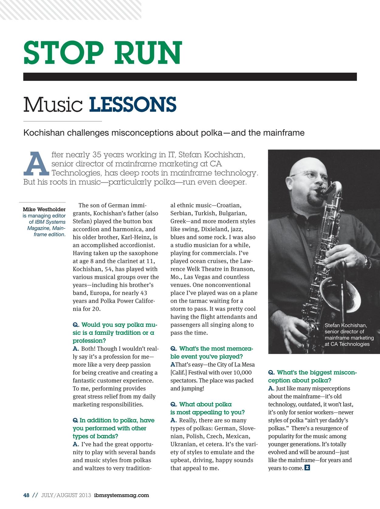 IBM Systems Magazine, Mainframe - July/August 2013