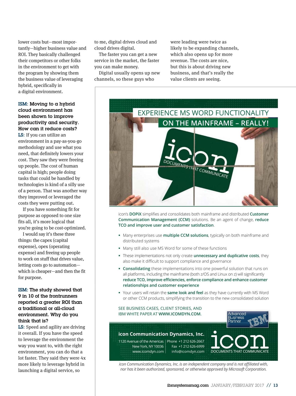 IBM Systems Magazine, Mainframe - January/February 2017