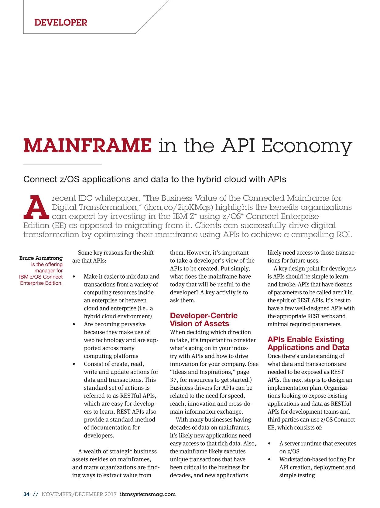 IBM Systems Magazine, Mainframe - November/December 2017