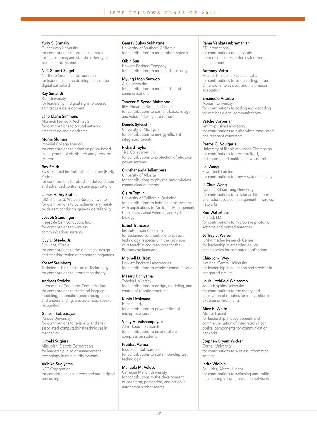 IEEE Awards Booklet - 2011