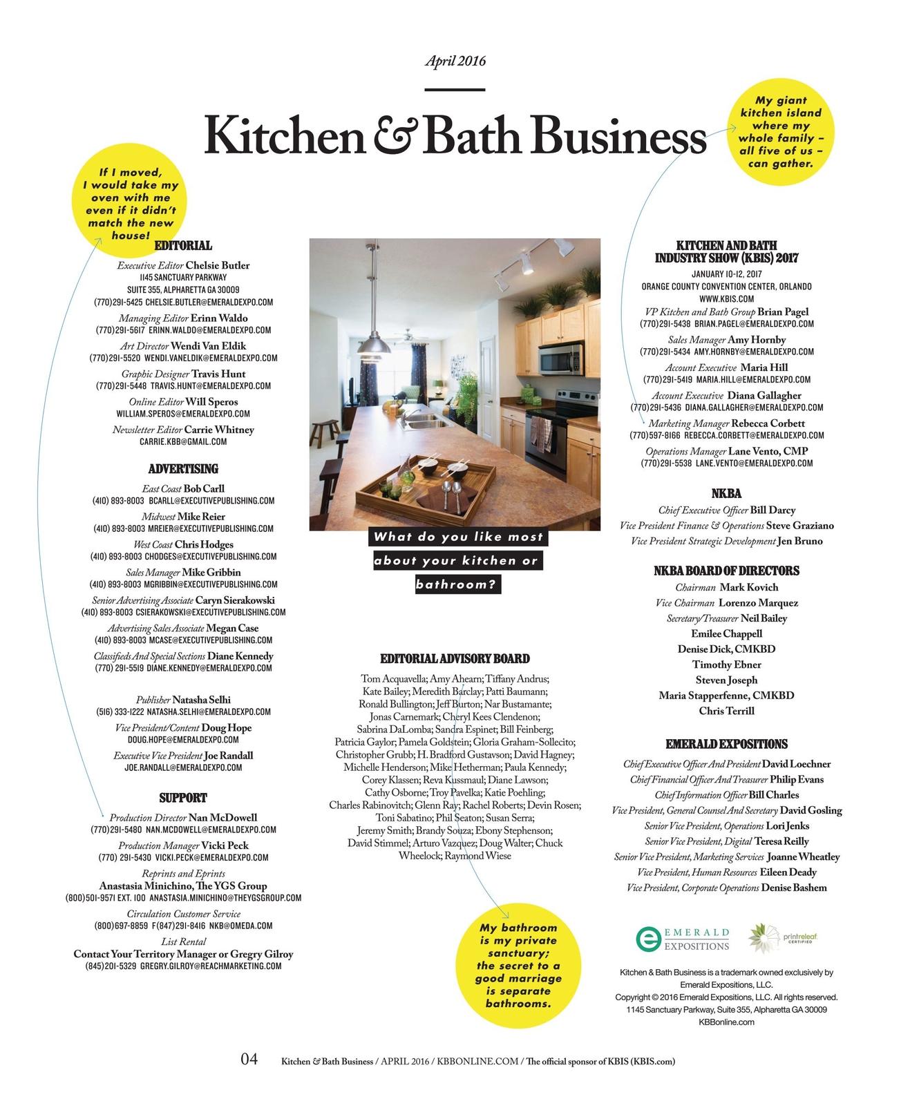 Kitchen Bath Business April 2016