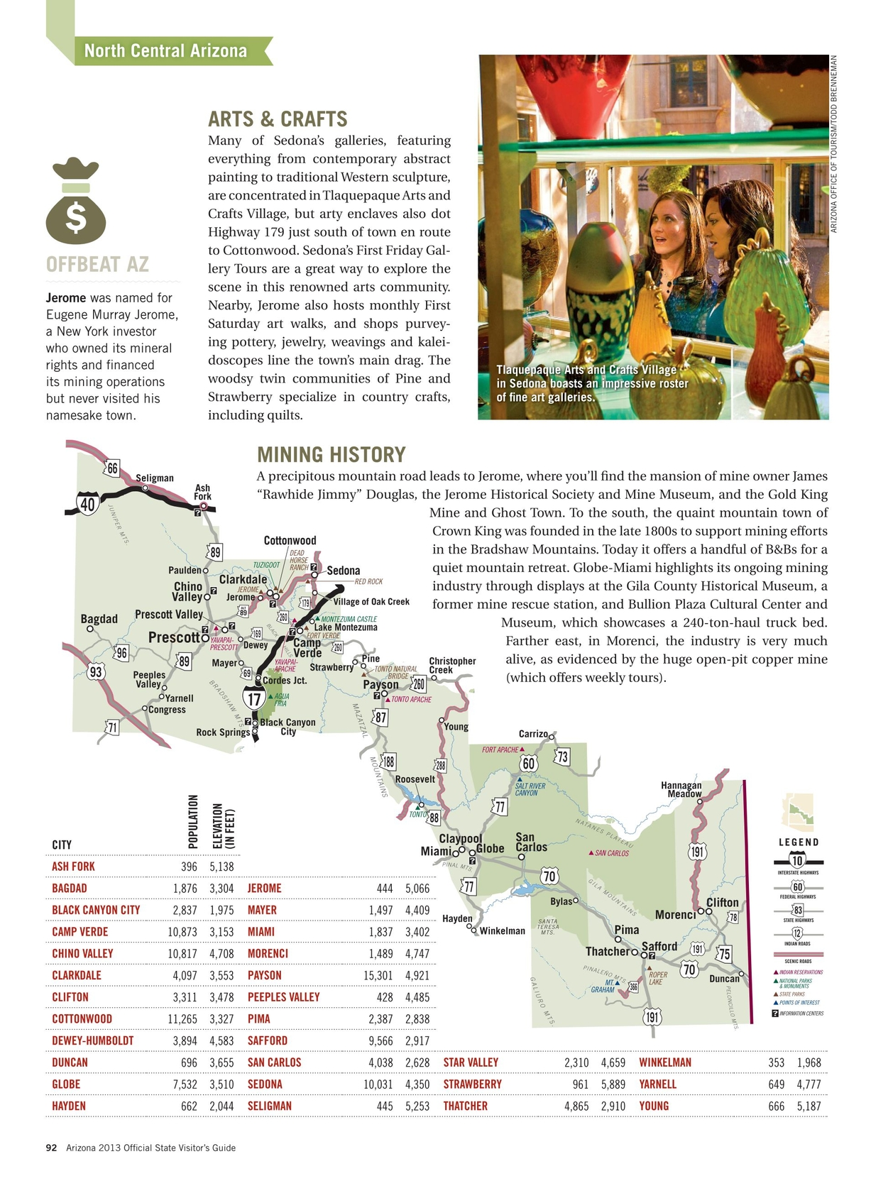 Map Of Arizona Including Jerome.2013 Arizona Official State Visitor Guide