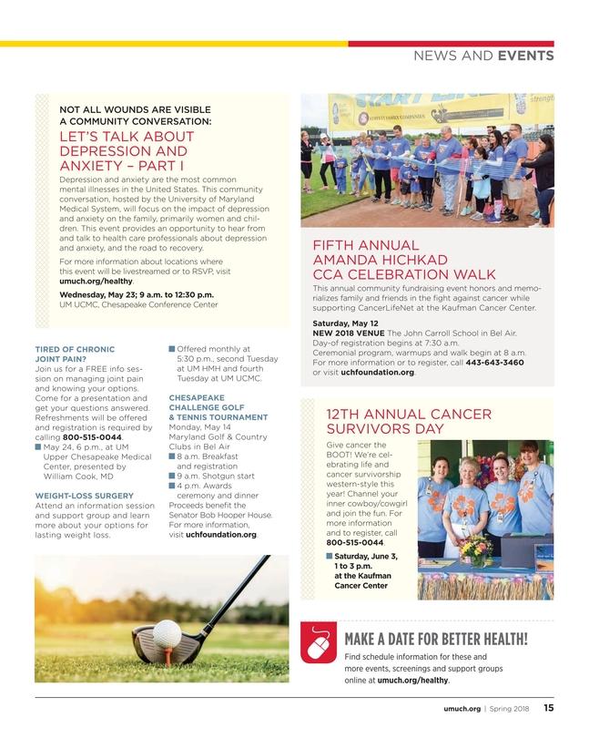 Maryland's Health Matters - Upper Chesapeake - Spring 2018