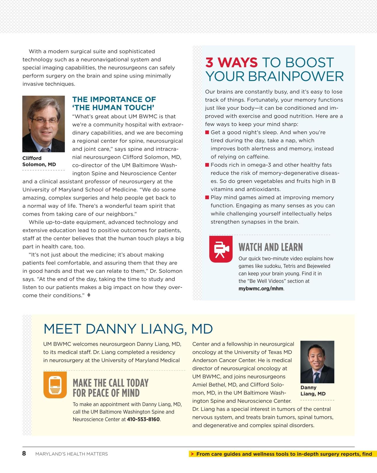 Maryland's Health Matters - BWMC - Winter 2014