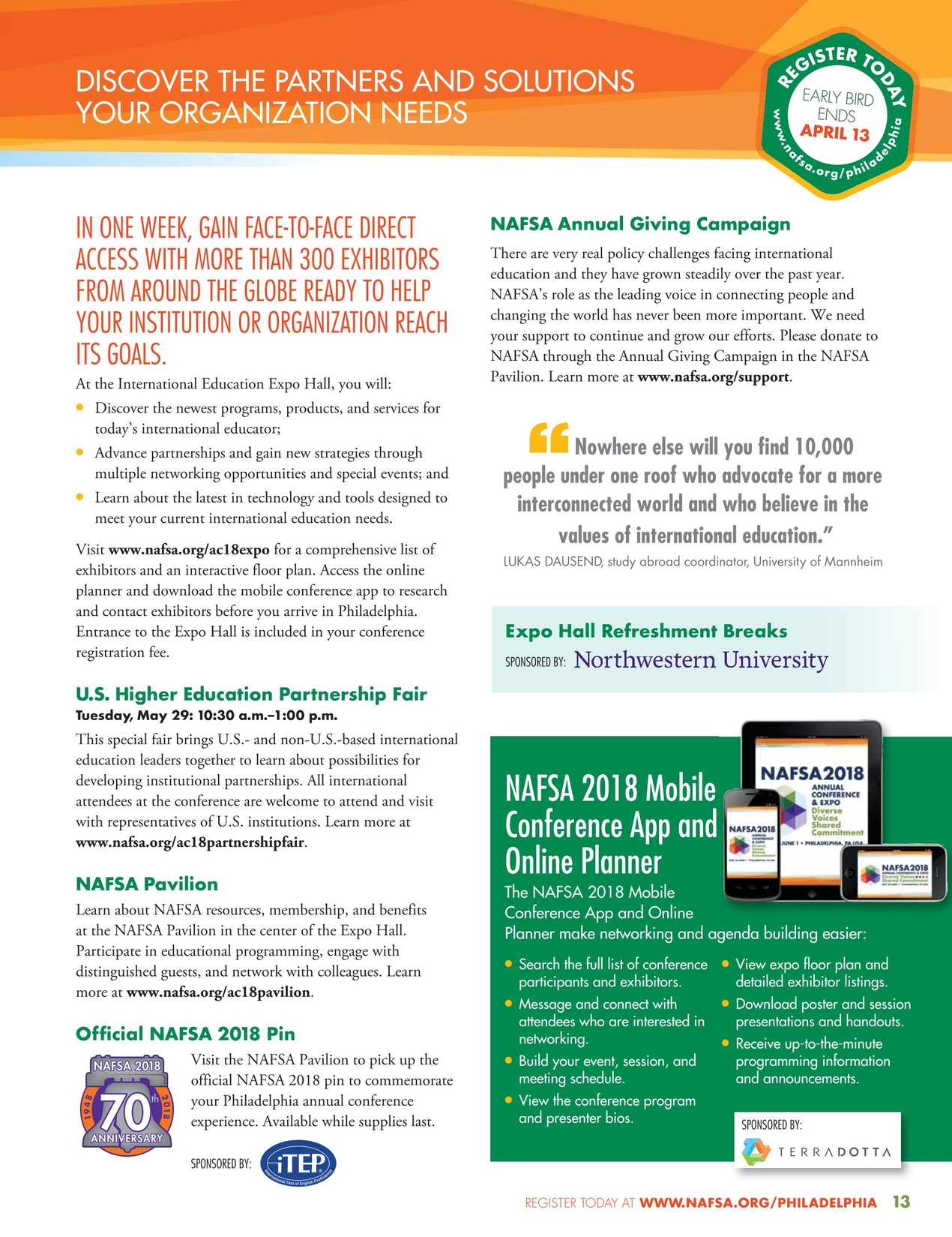 2018 NAFSA Annual Conference & Expo Registration Brochure