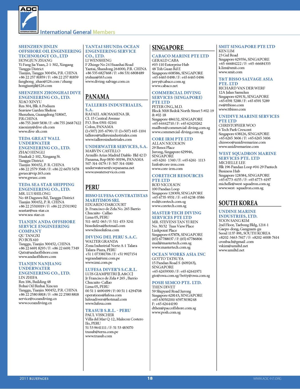 ADCI Blue Pages 2011 Membership Directory